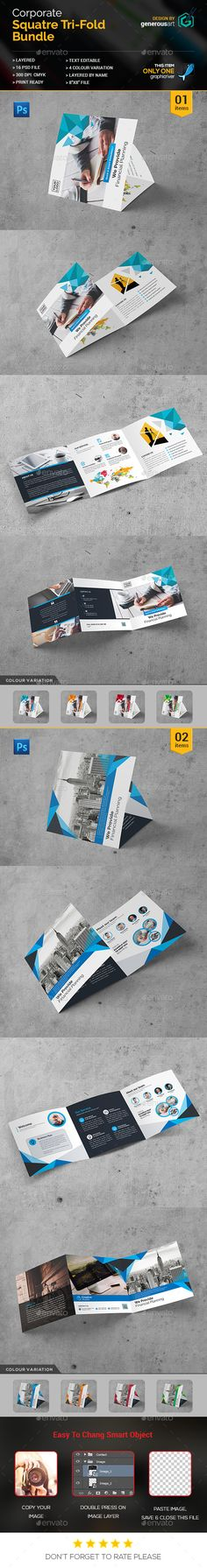 2 Square Tri-Fold Brochure Templates PSD. Download here: http://graphicriver.net/item/bundle_square-trifold-2-in-1/16816158?ref=ksioks