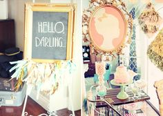 Welcome sign idea... Spray paint old frame gold and the backing with chalkboard paint :)