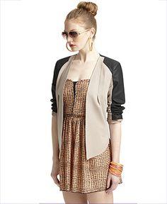 Bar III Jacket, Open-Front Long-Sleeve Two-Tone - Womens - Macy's
