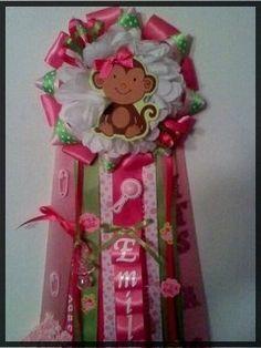 Premium Mod Monkey Girl Baby Shower Mum