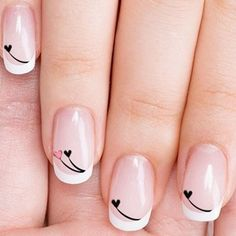 Even if you only have a short nails, you still need to style them. Actually, short nails are easier to maintain. So, if you are interested in nail art, check out these 10 trendy nail art designs for short nails below to beautify your short nails. Nail Designs 2017, Valentine's Day Nail Designs, Cute Nail Art Designs, Nails Design, French Nail Designs, Trendy Nail Art, Stylish Nails, Acrylic Nail Art, Acrylic Nail Designs