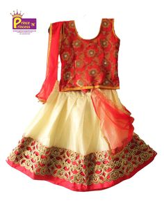 Kids Red and Off white Lehenga Choli . For more details www. Kids Lehenga Choli, Ghagra Choli, Langa Voni, Party Frocks, Prince And Princess, Off White, Ethnic, Traditional, Summer Dresses