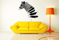 Wall Vinyl Sticker Decals Mural Room Design Pattern Art Bedroom Zebra Feathers Animal Nursery Cute Horse bo2423 by RoomDecalsAndDesigns on Etsy