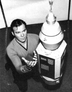 William Shatner as Captain Kirk pleading with NOMAD probe in this publicity photo for Star Trek OS