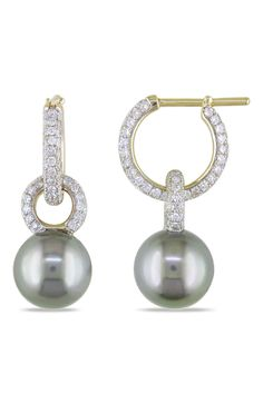 9-10mm Tahitian Pearl And 0.1 CT Earrings In 14k Gold
