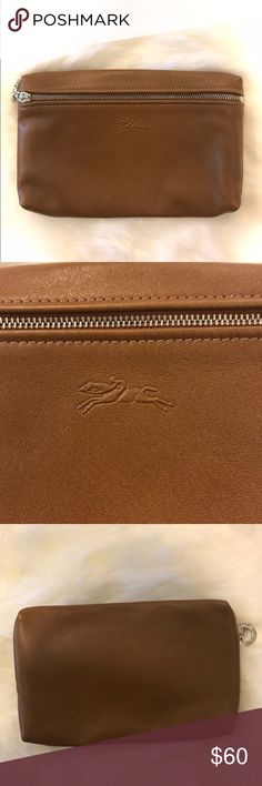 Longchamp saddle leather cosmetic bag pouch Perfect shape! From Lauren Kay Sims blog. No trades. Longchamp Bags Cosmetic Bags & Cases