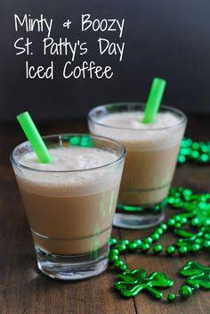 Minty & Boozy St. Patty's Day Iced Coffee |