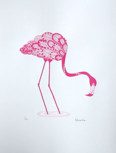 Screen print pink flamingo print 30 x 40cm Limited by Print121
