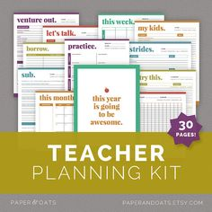 Teacher Planning Kit, Classroom Planner, Teacher's Binder, Classroom Organization, 30 Pages  //  Household PDF Printables