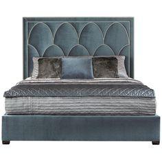 Bernhardt Interiors, Regan Upholstered Bed, Beds, Espresso, Bright Nickel, Queen, King, California King, upholstered headboard, Upholstered footboard