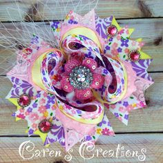 Vintage Floral stacked boutique bow, flowers, floral, hair bow, bow, over the top, vintage