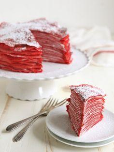 Red Velvet Crepe Cake from completelydelicious.com