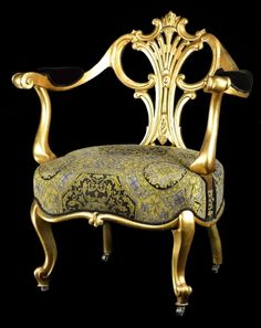 Antique French Gilt Empire Chair w/vintage Versace upl. Furniture Styles, Cool Furniture, Furniture Design, Versace Furniture, Versace Vintage, Versace Home, Love Chair, Beautiful Sofas, French Empire