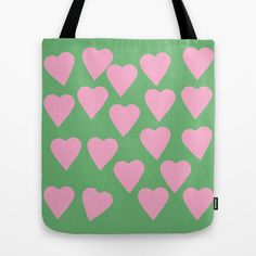 Hearts+Pink+on+Green+Tote+Bag+by+Project+M+-+$22.00