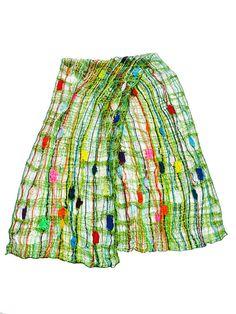Schal geklöppelte Spitze Wolle grünbunt Stola von UliBaysie auf Etsy, €209.00