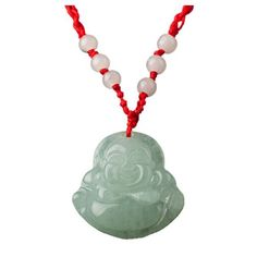 #Green jade red string laughing #buddha #prayer necklace buddhist,  View more on the LINK: 	http://www.zeppy.io/product/gb/2/321837348246/