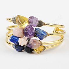 Wholesale Handcuff Gold Plated Assorted Stones Bangle Bracelet Amethyst Lapis Lazuli Quartz Natural Jasper Gemstone Making Jewelry G1022 by Druzyworld on Etsy