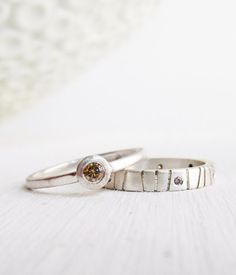 chocolate diamond wedding band - modern engagement ring - sterling palladium unique stacking set - handmade by lolide