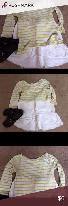 Old Navy Top Stripped Old Navy Top in lime green and white with some sparkle Top front. Size M. Great condition. Old Navy Tops Blouses