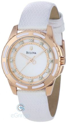 6895462a358 Womens Enamel Inlayed Case Watch from Bulova Contrasting white and rose  gold hues mate with natural mother of pearl dial to create a delicate  feminine ...