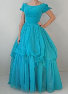 Turquoise Velvet and Organza Vintage Ball Gown