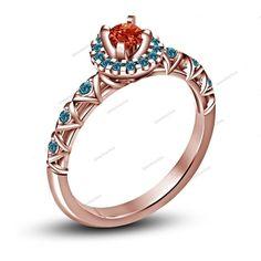 Multi-Stone Rose Gold Finish Disney Princess Women's Engagement Ring Sz 5 6…