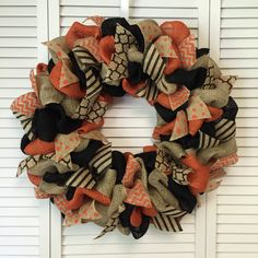 Large Burlap Halloween Wreath, Burlap Wreath, Fall Burlap Wreath, Halloween Wreath Burlap, Orange Black Wreath - pinned by pin4etsy.com