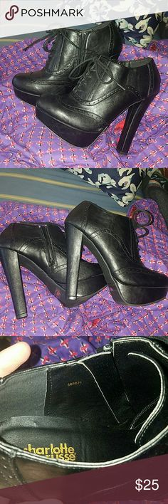"""Platform Booties 💀 THESE ARE PRACTICALLY NEW. PRICE IS FIRM. Worn once or twice around the house, I never got to wear these out so I'm passing them off. They're absolutely adorable shoes. Platform is about 1"""", heel is about 5"""". From Charlotte Russe, tagged HT FOR exposure. Hot Topic Shoes Heels"""