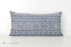 "Bohemian Hmong Lumbar Pillow Case with Handmade Indigo Batik on Cotton, Boho Pillow Gipsy Throw Pillow, Navy Lumbar Pillow 20"" x 10"" / 804 by OrientalBazar on Etsy https://www.etsy.com/listing/512202974/bohemian-hmong-lumbar-pillow-case-with"