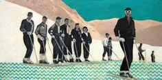 'Ski Lesson Avec Chevron' by Sarah Martin, Mixed Media on Panel | Koyman Galleries Chevron, Unique Words, Panel, Figurative, Skiing, Nostalgia, My Arts, Gallery, Winter