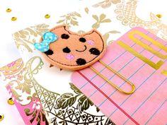 Chocolate Cookie Planner Paper Clip Feltie | Bookmark Filofax, KikkiK, Midori…