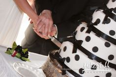 #wedding cake #wedding cake topper #tiered cake #Michigan wedding #Mike Staff Productions #wedding details #wedding photography http://www.mikestaff.com/services/photography #white #black #Polka dots