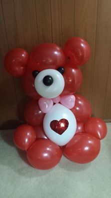 Balloon Teddy Bear.  Cute for Valentines Day gift!