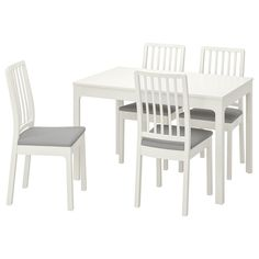 EKEDALEN / EKEDALEN Table and 4 chairs, white, Orrsta light gray - IKEA Table Legs, Table And Chairs, Dining Chairs, Malm, Hemnes Shoe Cabinet, Chaise Ikea, Table Extensible, Ikea Family