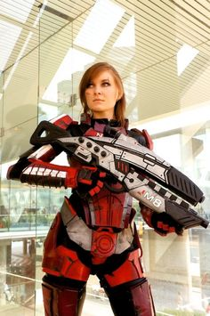 Incredible Mass Effect FemShep Cosplay. I enjoy how she is actually covered up like the game character rather than some of the female Spartans (Halo) that I included on this cosplay board.