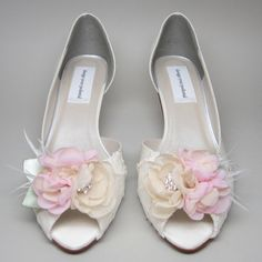Lace wedding shoes d'orsay peep toe high heels embellished with ...