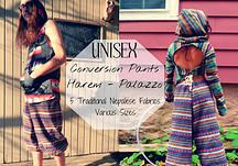 Unisex Nepalese Harem-Palazzo Conversion Lovely, sensational, high-quality, traditional, true fabric from Nepal  Five delightful fabrics to select from Versatile, adjustable, convertible  2 fabulous sizes   Hidden lower draw strings to convert from palazzo to harem  Stripes will run vertical, unless otherwise specified; most pictures showcase horizontal  Gnar Hoops & Happy Wallet Clothing