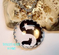 Welsh Corgi Yin And Yang Necklace Or Key Chain: So cute!