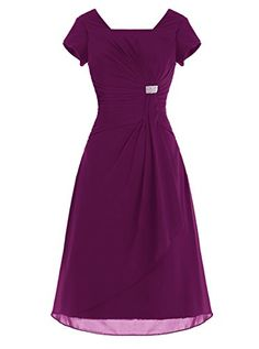 ALAGIRLS Short Chiffon Bridesmaid Dress Cap Sleeves Prom ...