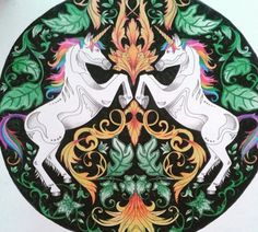 Unicorns Enchanted Forest Unicornios Floresta Encantada Johanna Basford Coloring BookJohanna