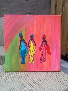 Women of Africa  Canvas 40 bij 40  Eigen creatie