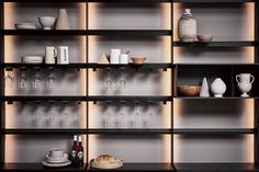 An innovative kitchen, with distinctive and unique components living in perfect harmony together or individually. Custom Shelving, Shelving Design, Shelf Design, Frosted Glass Door, Kitchen Showroom, Kitchen Interior, Shelf System, Indirect Lighting, Traditional Doors