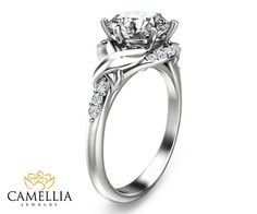 14K White Gold Diamond Engagement Ring by CamelliaJewelry on Etsy