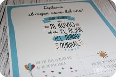"Diploma ""Al mejor novio del mundo"" Ideas Aniversario, You And I, Presents, Notebook, Bullet Journal, Valentines, Diy Crafts, Love, Letters"
