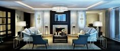 Project: Strand' luxury property development in Central London by Decoflame ApSArchiExpo Living Room With Fireplace, My Living Room, Living Room Decor, Living Area, London Living Room, Lounge Design, Uk Homes, Property Development, New Homes For Sale
