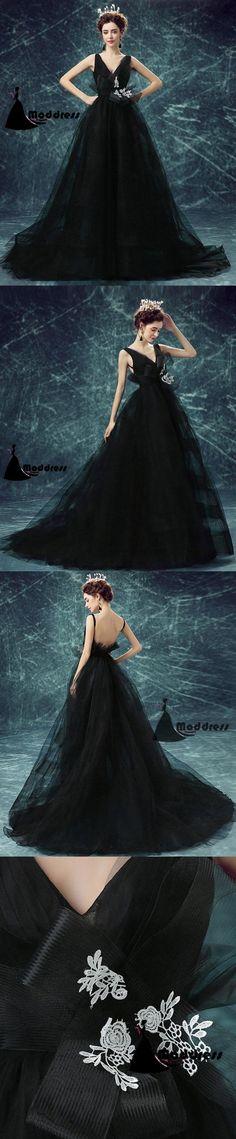Black Long Prom Dress V-Neck Evening Dress Tulle Formal Dress,HS535  #fashion #shopping #dresses #eveningdresses #2018prom