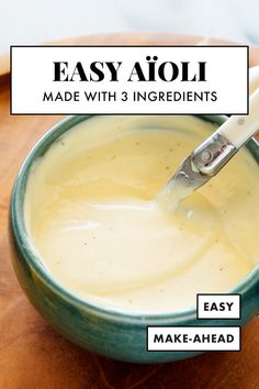 Cheater's Aioli Recipe – Cookie and Kate Learn how to make creamy, tangy, garlicky aioli at home with this easy recipe! You'll just need good mayonnaise, lemon juice and garlic. It's just as good as your favorite restaurant's! Garlic Aoli Recipe, Lemon Garlic Aioli, Recipe For Aoli, Vegan Aioli Recipe, Roasted Garlic Aioli, Garlic Mayo, Chutney, Gourmet, Sweets