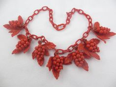 Vintage Celluloid Grape Cluster Leaf Necklace