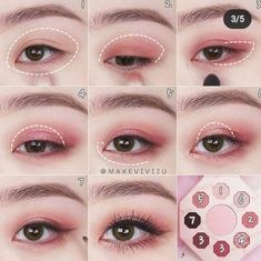 Korean Makeup Tips, Asian Eye Makeup, Kawaii Makeup, Cute Makeup, Creative Makeup Looks, Simple Makeup, Makeup Inspo, Makeup Art, Ulzzang Makeup