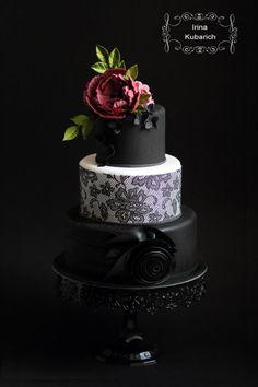 - Cake by Irina Kubarich Gorgeous Cakes, Pretty Cakes, Amazing Cakes, Black And White Wedding Cake, Black Wedding Cakes, Cake Wedding, Goth Cakes, Bolo Floral, White Cakes